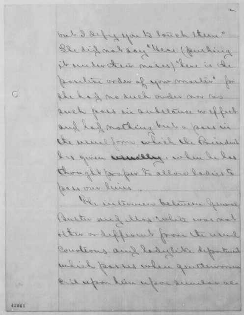 Benjamin F. Butler to John G. Nicolay, Thursday, April 21, 1864  (Case of Martha Todd White)