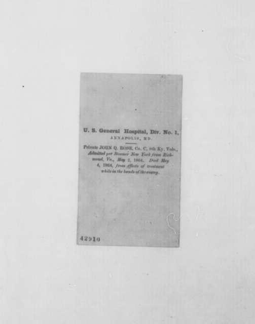 Benjamin F. Wade to Abraham Lincoln, Friday, May 20, 1864  (Sends photographs of prisoners of war)