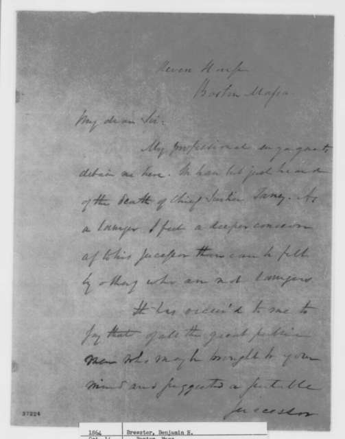 Benjamin H. Brewster to Abraham Lincoln, October 14, 1864  (Recommends William H. Seward for Supreme Court)