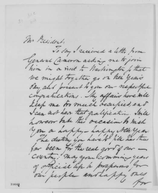 Benjamin H. Brewster to Abraham Lincoln, Saturday, December 31, 1864  (Happy New Year)