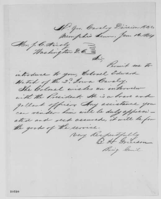 Benjamin H. Grierson to John G. Nicolay, Saturday, January 16, 1864  (Introduces Edward Hatch)