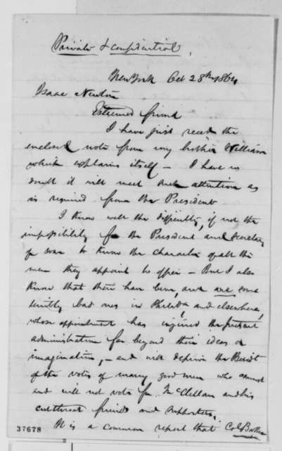Benjamin Tatham to Isaac Newton, Friday, October 28, 1864  (Cover letter; charges against officer)