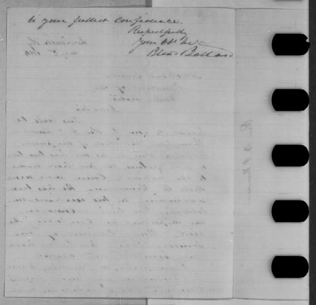 Bland W. Ballard to Abraham Lincoln, Tuesday, May 03, 1864  (Introduction)