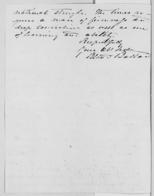 Bland W. Ballard to Abraham Lincoln, Wednesday, November 02, 1864  (Recommends Chase for Chief Justice)
