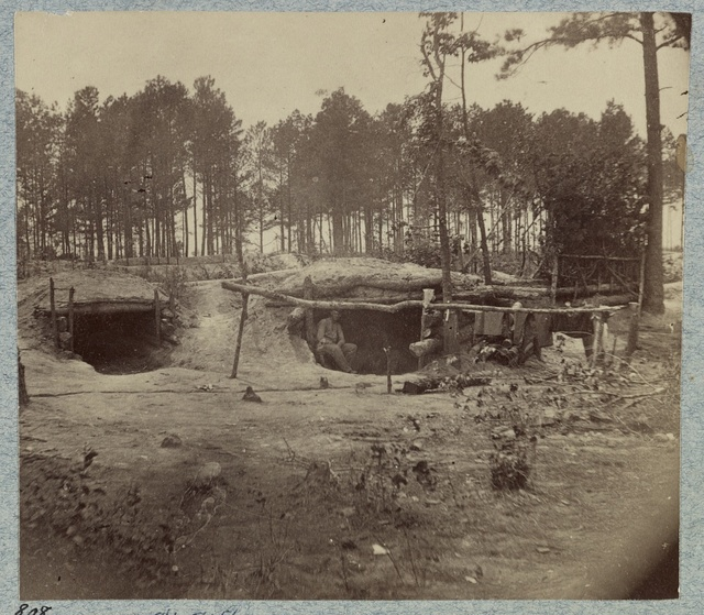 [Bombproof huts in the front line before Petersburg, August 10, 1864]