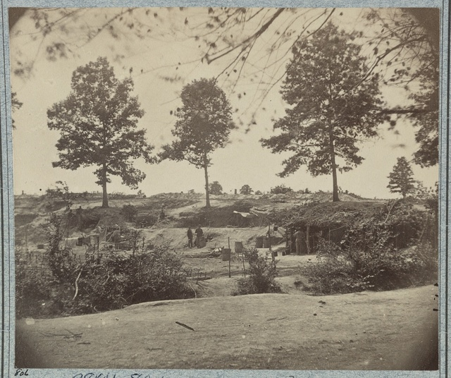 [Bombproof kitchen and tents on front line in front of Petersburg, August 10, 1864]