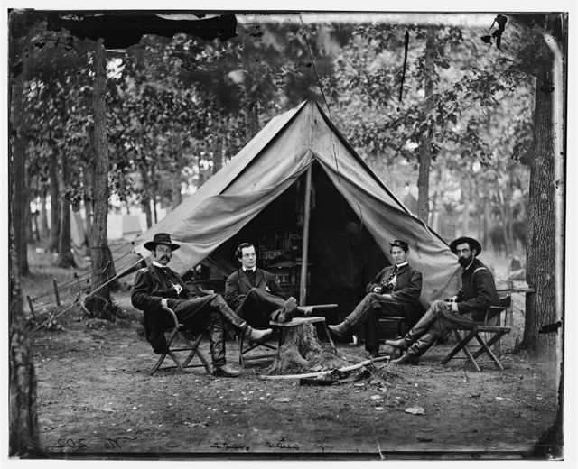 [Brandy Station, Va. Col. George H. Sharpe, John G. Babcock, unidentified, and Lt. Col. John McEntee, Secret Service officers at Army of the Potomac headquarters]