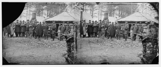 [Brandy Station, Va. Gens. George G. Meade, John Sedgwick, and Robert O. Tyler with staff officers at Horse Artillery headquarters]
