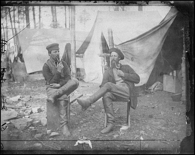 """[Brandy Station, Va. Two men """"discussing the probabilities of the next advance""""]"""
