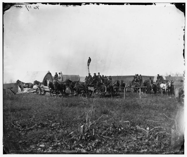 [Brandy Station, Va. Wagons and men of the U.S. Military Telegraph Construction Corps]