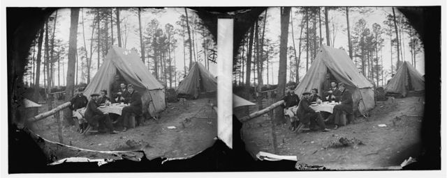 Brandy Station, Virginia. A breakfast party at headquarters. Army of the Potomac