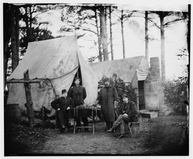 Brandy Station, Virginia. Group of officers, headquarters, Army of the Potomac