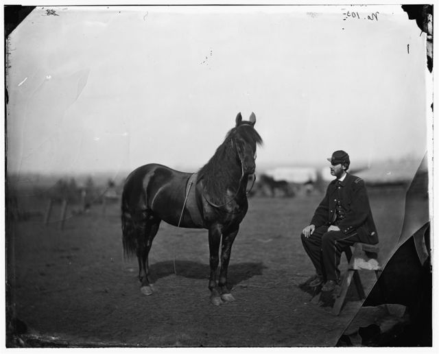 [Brandy Station], [Virginia]. Lt. Chas W. Wolsey with horse headquarters Army of the Potomac