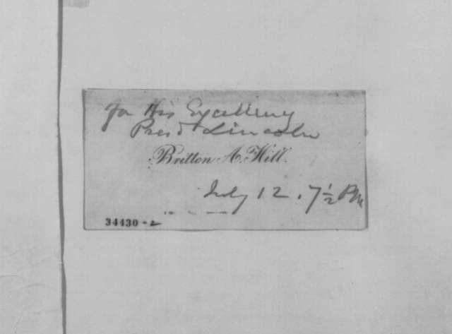 Britton A. Hill to Abraham Lincoln, Tuesday, July 12, 1864  (Defense of Washington Navy Yard)