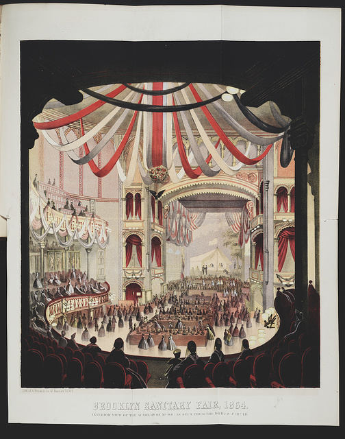 Brooklyn Sanitary Fair, 1864 Interior view of the Academy of Music, as seen from the dress circle / / Lith. of A. Brown & Co. 47 Nassau St. N.Y.