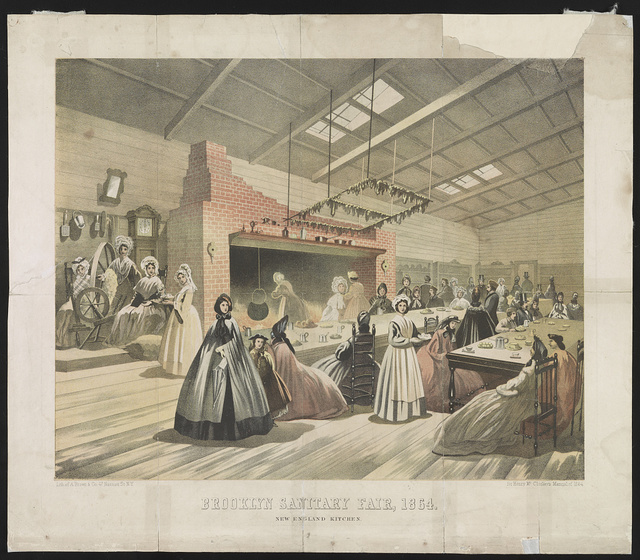 Brooklyn sanitary fair, 1864. New England kitchen / lith. of A. Brown & Co. 47 Nassau St. N.Y. for Henry McCloskey's Manual of 1864.