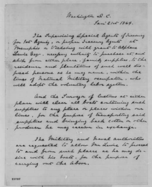 Brutus J. Clay, Thursday, January 21, 1864  (Draft of order granting Alpheus Lewis permission to purchase supplies)