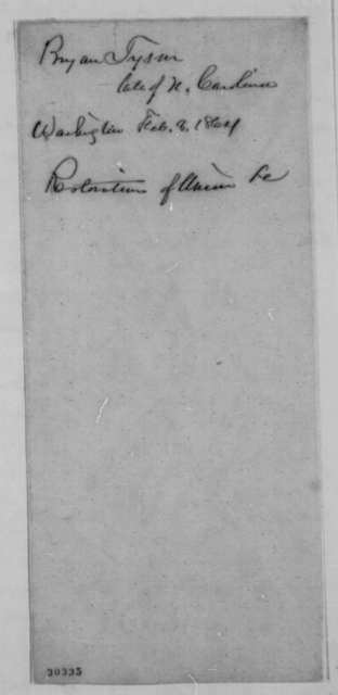 Bryan Tyson to Abraham Lincoln, Monday, February 08, 1864  (Political advice)