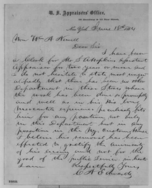 C. A. Edwards to William A. Newell, Saturday, June 18, 1864  (Removal of Samuel A. Hopkins)
