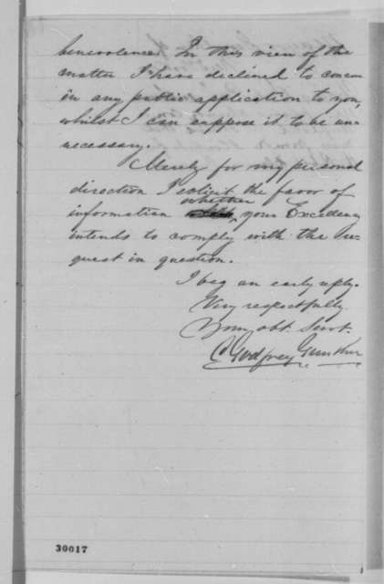 C. Godfrey Gunther to Abraham Lincoln, [November 1864]  (Welfare of Confederate prisoners at Elmira, New York)