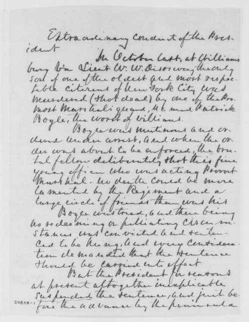 C. R. Disosway to Editor of the Washington D.C. National Intelligencer, Saturday, February 20, 1864  (Lincoln suspended sentence of man who murdered Disosway's son)