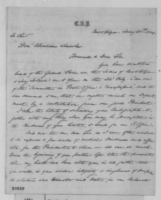 C. S. Brooks to Abraham Lincoln, Tuesday, January 26, 1864  (Requests autograph for sale at Brooklyn Sanitary Fair)