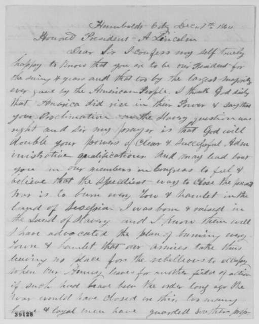 C. W. Shang to Abraham Lincoln, Wednesday, December 07, 1864  (Congratulations and mining land in California)