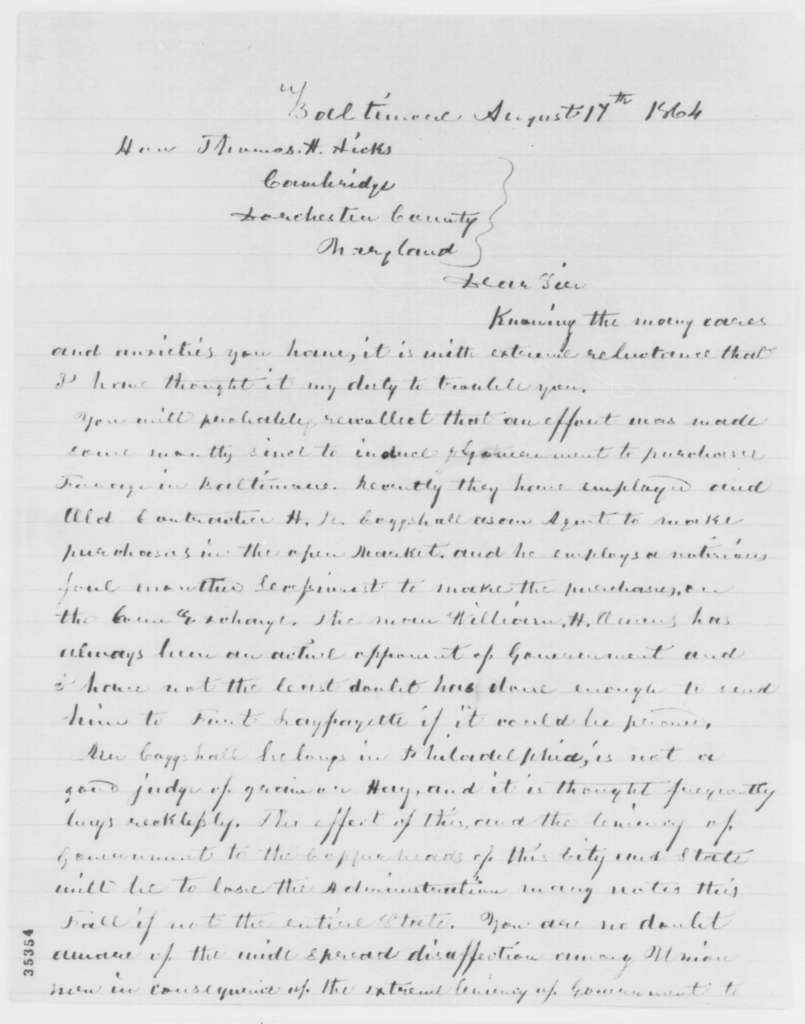 Camillus Kidder to Thomas H. Hicks, Wednesday, August 17, 1864  (Purchase of supplies for the government; endorsed by Hicks)