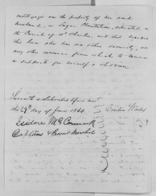 Cecilia Wailes, Wednesday, June 29, 1864  (Affidavit; certified by Isidore McCormick)