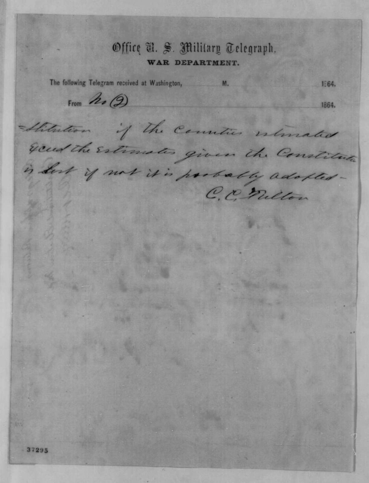 Charles C. Fulton to Henry W. Hoffman, Sunday, October 16, 1864  (Telegram reporting Maryland election results)