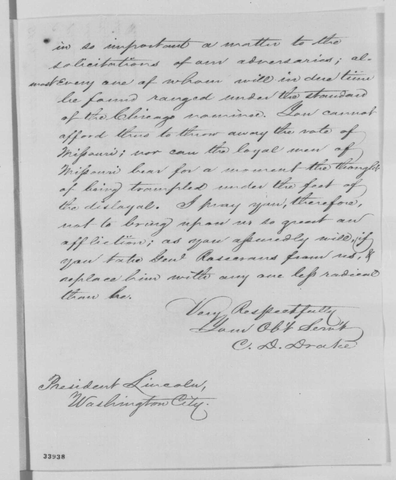 Charles D. Drake to Abraham Lincoln, Wednesday, June 22, 1864  (Military affairs in Missouri)