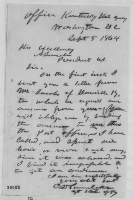 Charles D. Pennebaker to Abraham Lincoln, Monday, September 05, 1864  (Requests answer to letter)