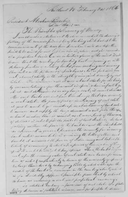 Charles F. Burt to Abraham Lincoln, Wednesday, February 24, 1864  (National banking policy)
