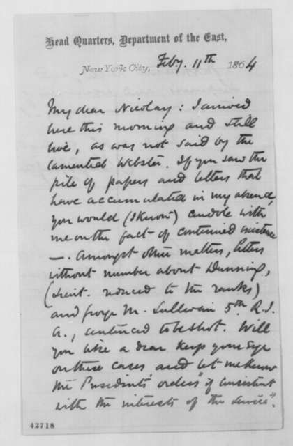 Charles G. Halpine to John G. Nicolay, Thursday, February 11, 1864  (Court martial cases)
