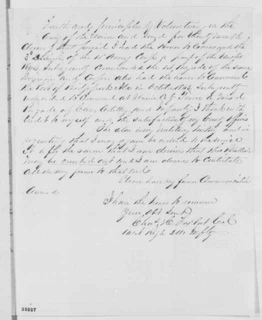 Charles H. Fox to Abraham Lincoln, Thursday, August 11, 1864  (Military commission)