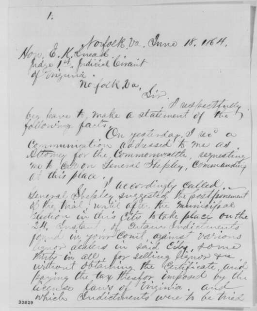 Charles H. Porter to Edward K. Snead, Saturday, June 18, 1864  (Affairs at Norfolk, Virginia)