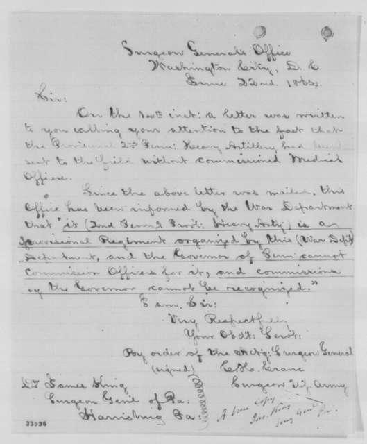 Charles Henry Crane to James King, Wednesday, June 22, 1864  (Medical officer for Pennsylvania regiment)