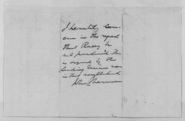 Charles J. Albright to John Sherman, Friday, January 15, 1864  (Pardon for John Racey; endorsed by William M. Farrar, N. Evans, Abraham Lincoln, and John Sherman)