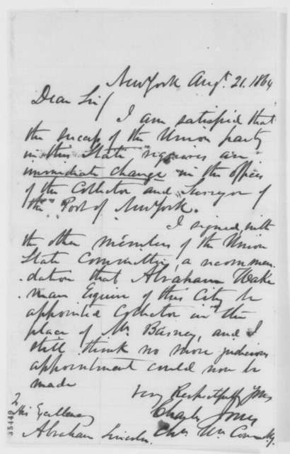Charles Jones to Abraham Lincoln, Sunday, August 21, 1864  (Recommendation)