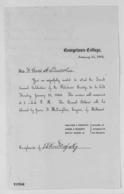Charles L. Heizman, et al. to Abraham Lincoln, Friday, January 15, 1864  (Printed invitation)