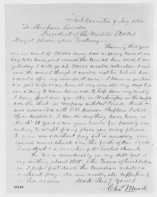 Charles Marsh to Abraham Lincoln, Tuesday, August 09, 1864  (Tenders his services)