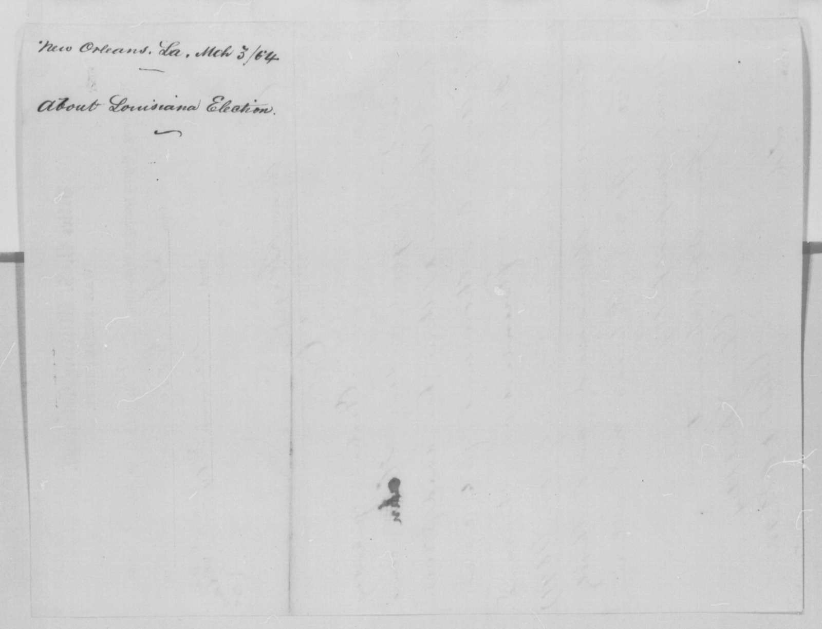 Charles S. Bulkley to Anson Stager, Tuesday, February 23, 1864  (Telegram reporting Louisiana election results)