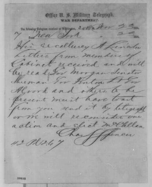 Charles S. Spencer to Abraham Lincoln, Wednesday, November 23, 1864  (Telegram requesting toast for New York celebration)