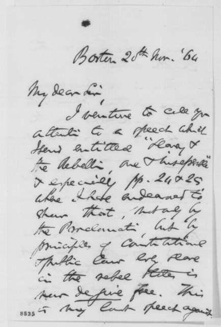 Charles Sumner to Abraham Lincoln, Sunday, November 20, 1864  (Slavery and peace negotiations)