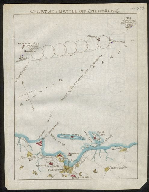 Chart of the battle off Cherbourg.