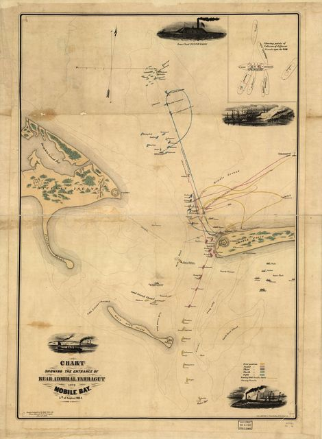 Chart showing the entrance of Rear Admiral Farragut into Mobile Bay. 5th of August 1864