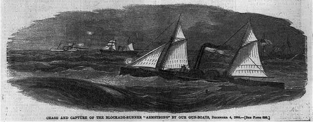 "Chase and capture of the blockade-runner ""Armstrong"" by our gun-boats"