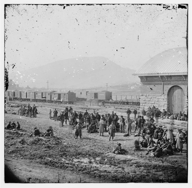 Chattanooga, Tennessee. Confederate prisoners at railroad depot
