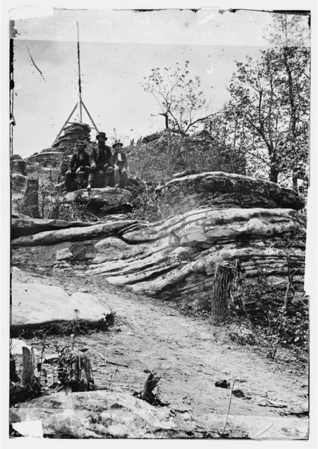 Chattanooga, Tennessee (vicinity). Tripod signal erected by Capts. Dorr and Donn of U.S. Coast Survey at Pulpit Rock on Lookout Mountain