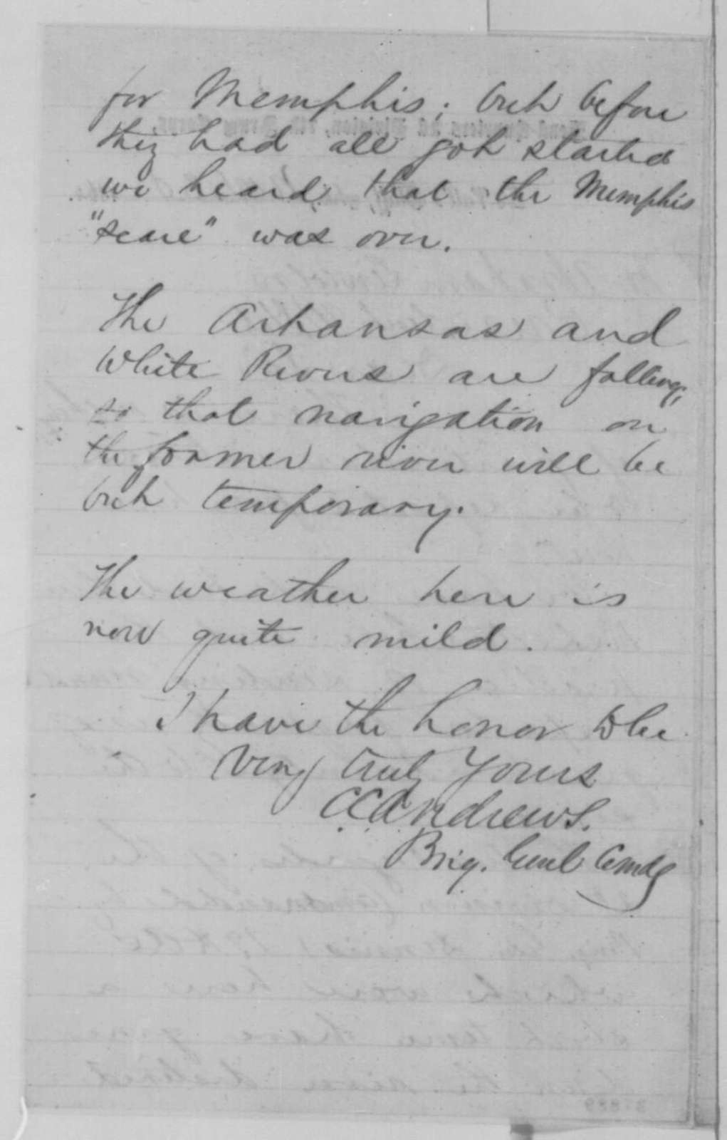 Christopher C. Andrews to Abraham Lincoln, Wednesday, November 30, 1864  (Military affairs in Arkansas)